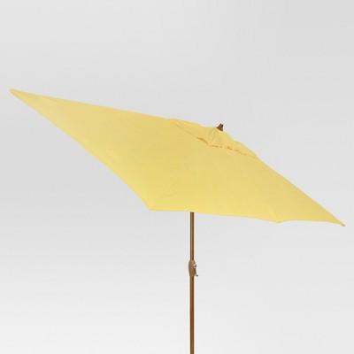 10' x 6' Rectangular Umbrella - Yellow - Medium Wood Finish - Threshold™