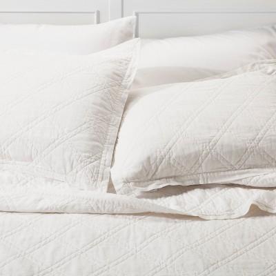 White Linen Quilted Sham (Euro)- Threshold™