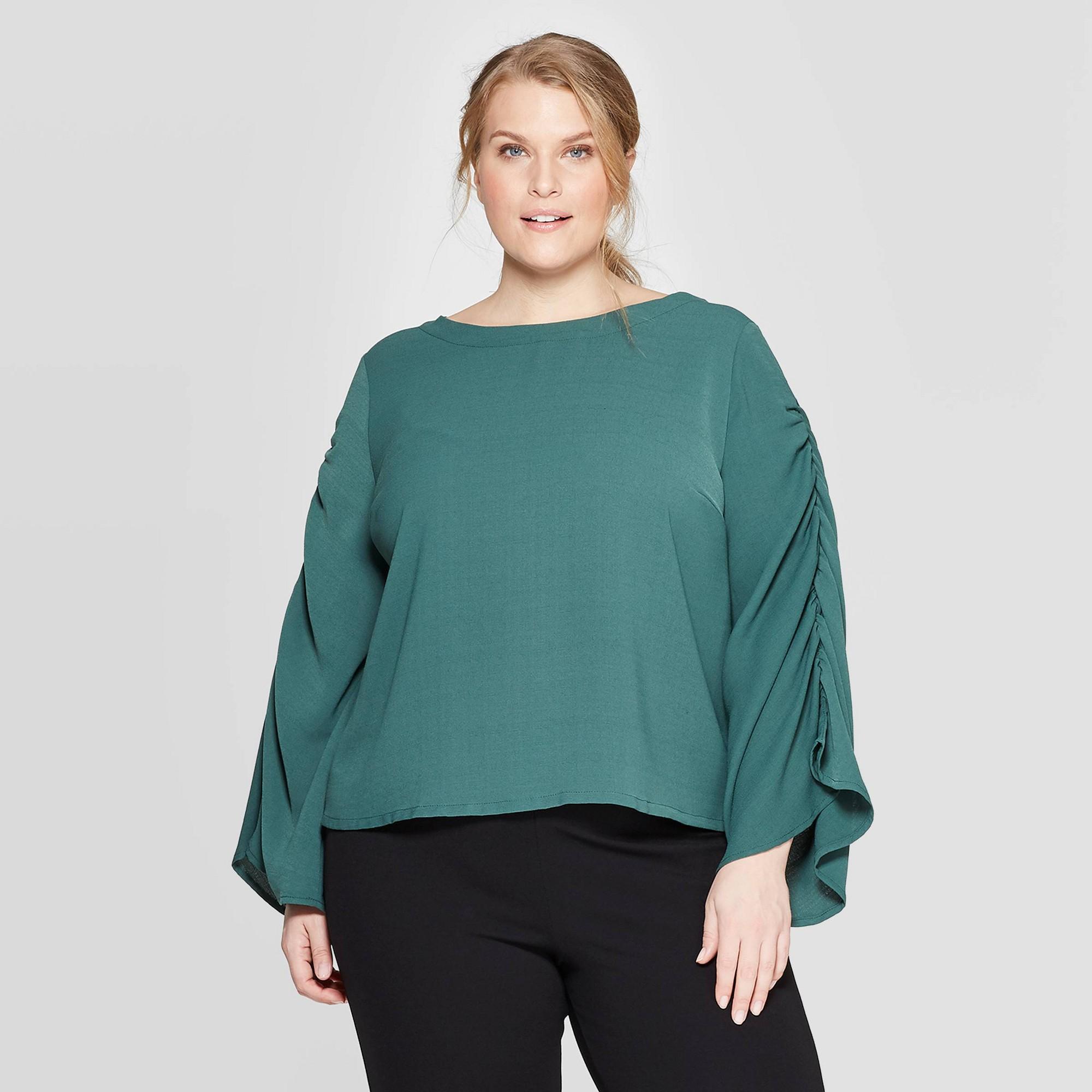 Women's Plus Size Long Sleeve Scoop Neck Top - Prologue Green 2X