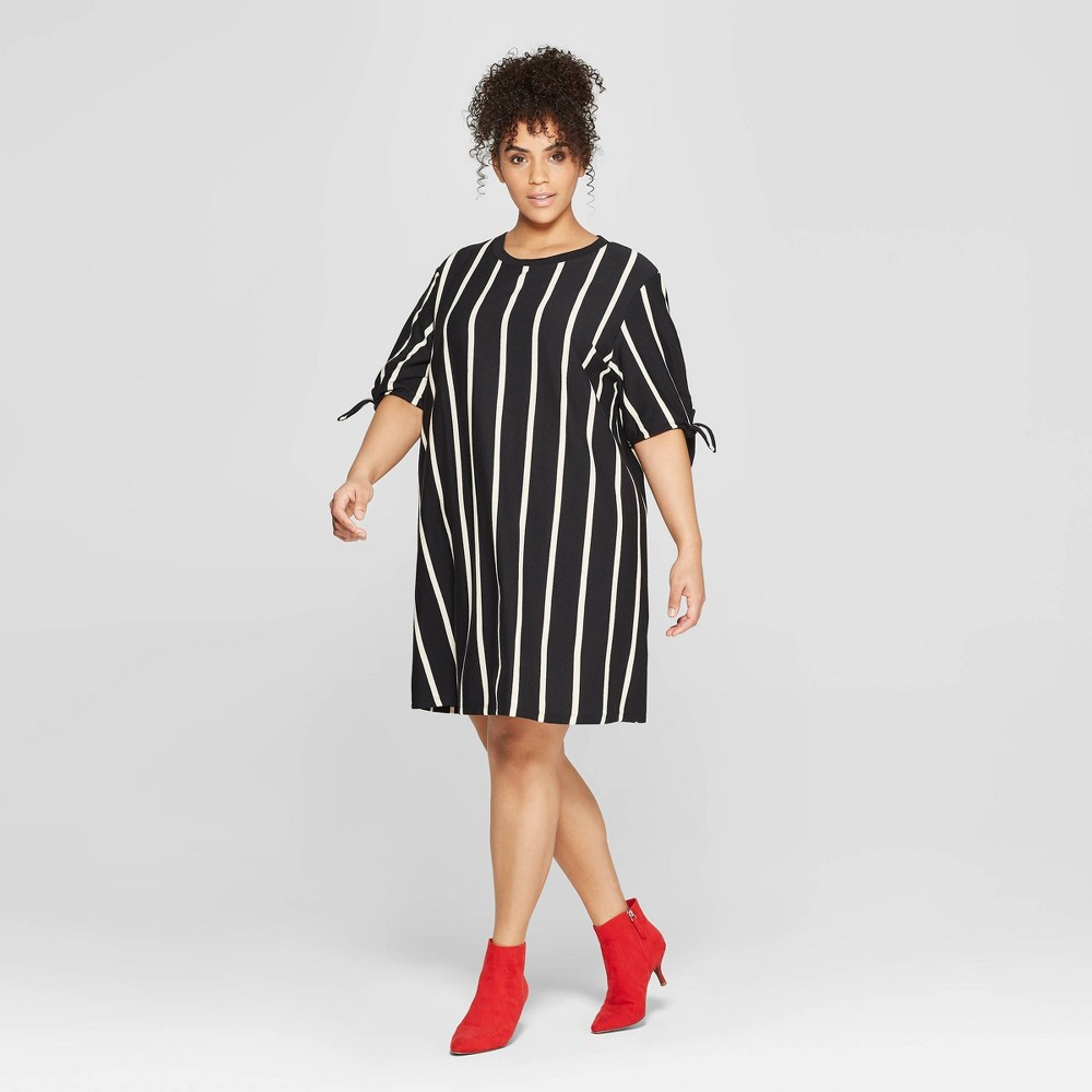 Women's Plus Size Striped Short Knotted Sleeve Crewneck T-Shirt Dress - Who What Wear Black/White X