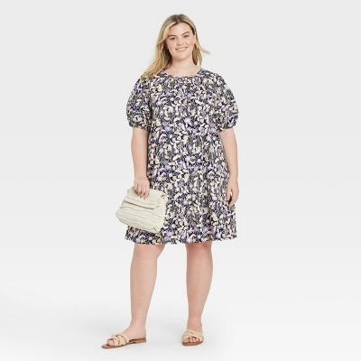 Women's Plus Size Pleated Puff Sleeve Dress - Ava & Viv™