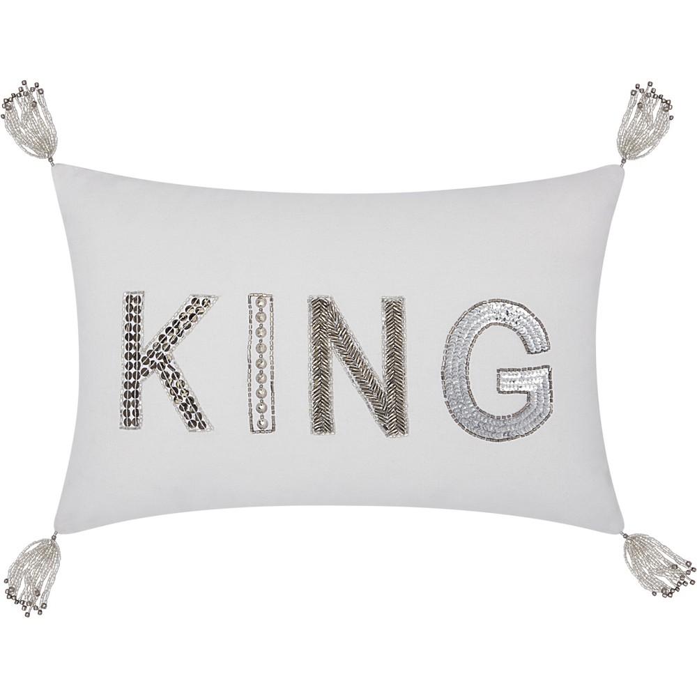 Image of Beaded King Throw Pillow White - Mina Victory