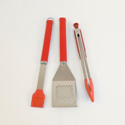 3pc BBQ Tool Set Apple Red - Evergreen
