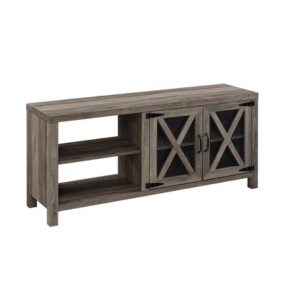 """2 Door Modern Farmhouse Storage TV Stand for TVs up to 65"""" - Saracina Home"""