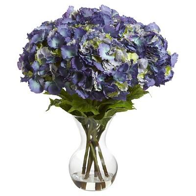 225 & Large Hydrangea with Vase Silk Flower Arrangement - Blue