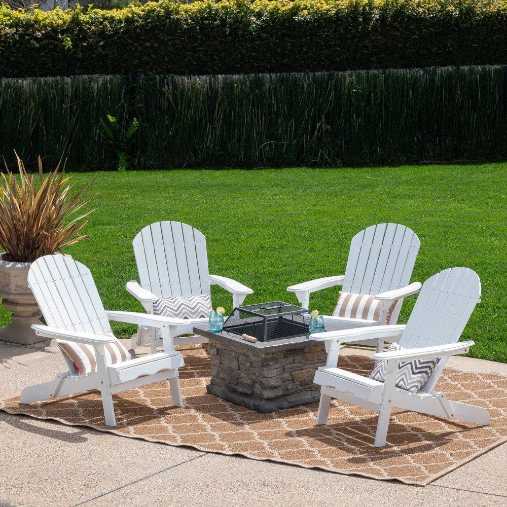 Marrion 5pc Acacia Wood Adirondack Chair and Fire Pit Set - White - Christopher Knight Home
