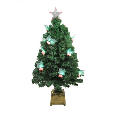 Artificial Christmas Tree With Lights.Northlight 3 Prelit Artificial Christmas Tree Fiber Optic With Led Holly Berries