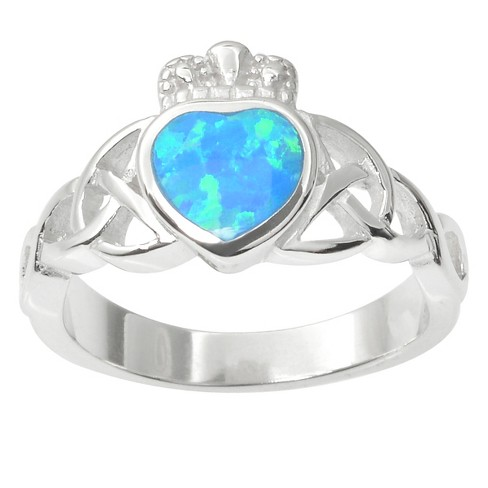 1/5 CT. T.W. Heart-cut Simulated Opal Celtic Inlaid Set Ring in Sterling Silver - Blue - image 1 of 2