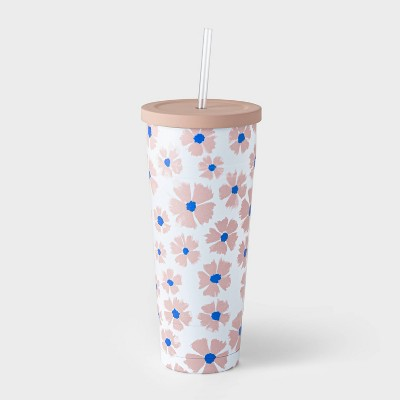 25oz Double Wall Stainless Steel Vacuum Tumbler with Straw Cornflower Pink - Room Essentials™
