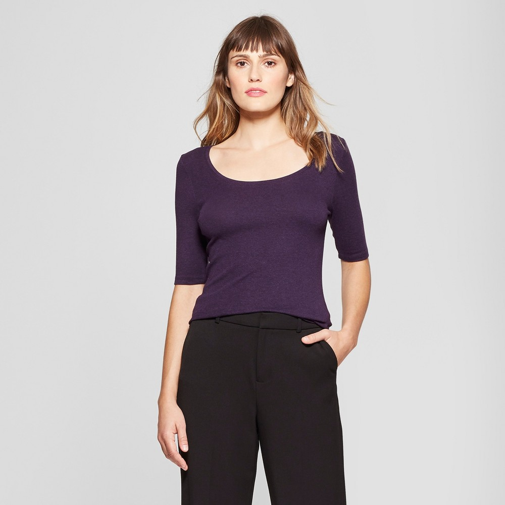 Women's Elbow Length Fitted T - Shirt - A New Day Purple Heather M