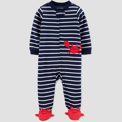 Baby Boys' Crab Embroided Stripe Sleep 'N Play One Piece Pajama - Just One You® made by carter's Navy/White 3M