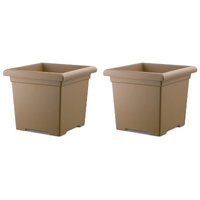 HC Companies ROS15500A34 15.5-Inch Square Accent Planter, Sandstone Tan (2 Pack)