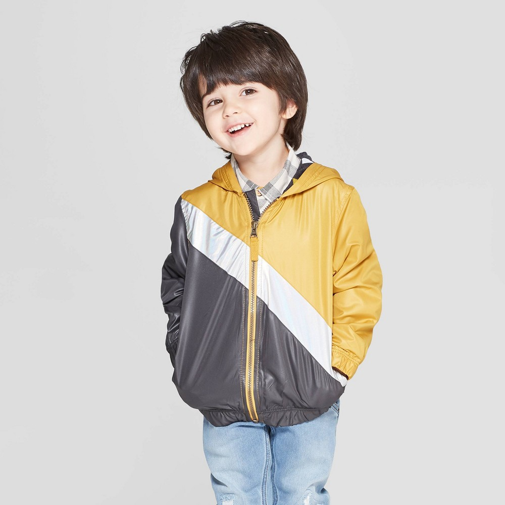 Genuine Kids from OshKosh Toddler Boys' Metallic Color Block Windbreaker Jacket - Yellow/Gray 18M