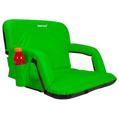 Driftsun Universal Wide Deluxe 25 Inch Width Folding Stadium Reclining Bleacher Seat Chair with Back Support for Sporting Events, Green