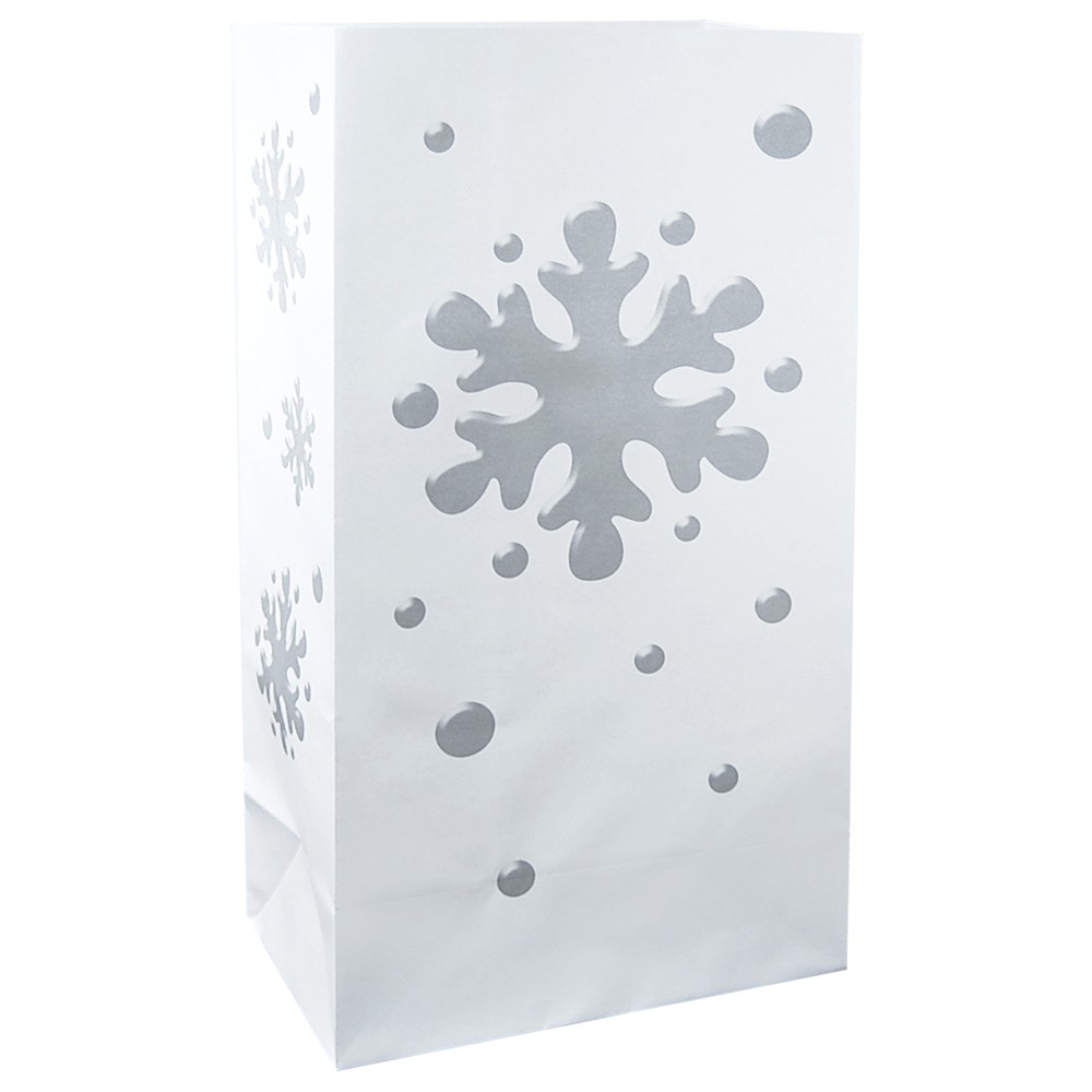 "Image of ""12ct Flame Resistant Paper Luminaria Bags """"Snowflake"""" Silver - LumaBase"""