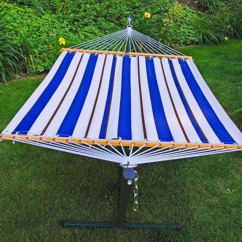 Fabric Hammock and Stand Set - Blue/ White