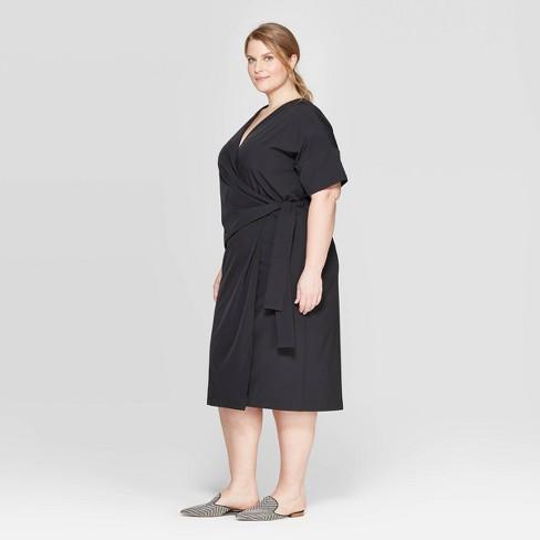 f4d194d50a3 Women s Plus Size Short Sleeve V-Neck Wrapped Dress - Prologue™ Black    Target