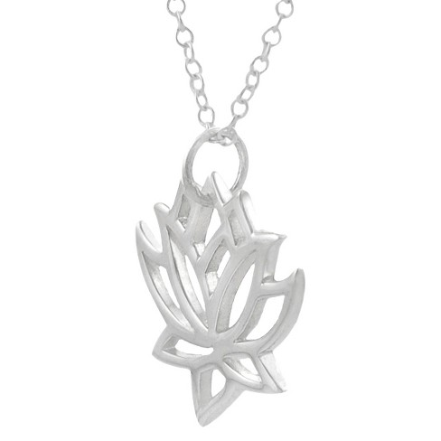 Sterling Silver Lotus Necklace - Silver - image 1 of 1