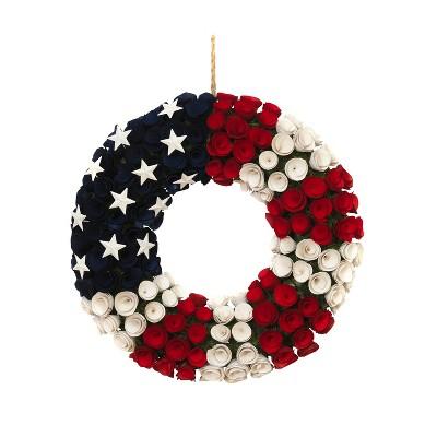 Gerson International 21.5-Inch Diameter Wood and Twig Americana Rose Wreath