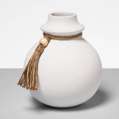 "5.91"" x 6.69"" Ceramic Vase with Tassel White - Opalhouse™"