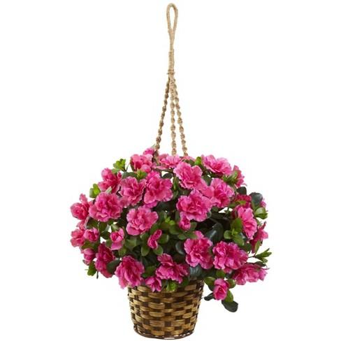 "28"" x 18"" Artificial Azalea Hanging Basket Pink/Natural - Nearly Natural - image 1 of 1"