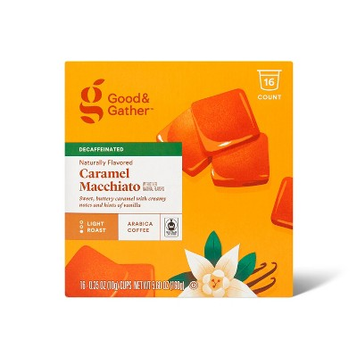 Naturally Flavored Caramel Macchiato Decaf Light Roast Coffee - 16ct Pods - Good & Gather™