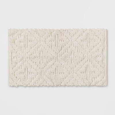 Textured Diamond Shag Bath Rug Cream - Opalhouse™