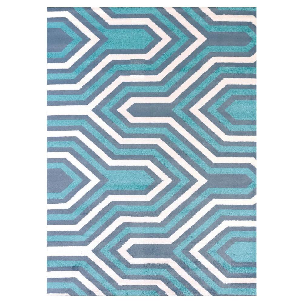 Blue Geometric Hooked Area Rug 5'3X7' - United Weavers of America