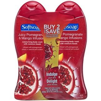 Softsoap Moisturizing Body Wash Pomegranate & Mango - 18 fl oz/2pk