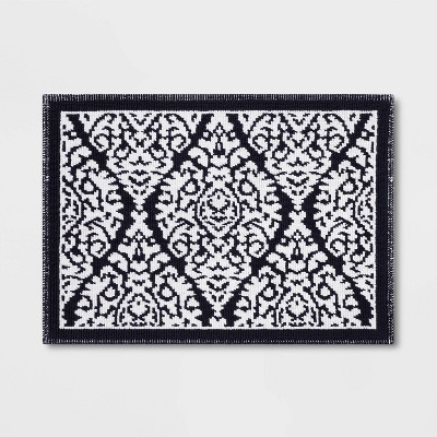 2 Tone Bath Mat Navy Ogee - Threshold™