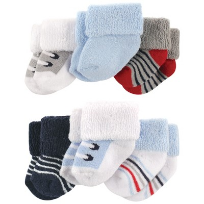 Luvable Friends Baby Boy Newborn and Baby Socks Set, Blue Gray Sneakers, 0-3 Months