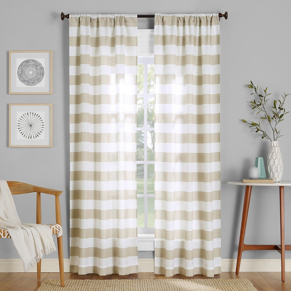 Image of 40x63 Glendale Stripe Semi-Sheer Rod Pocket Curtain Panel Taupe-No. 918, Brown
