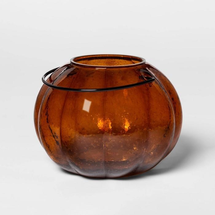 "9.8"" x 7.3"" Glass Pumpkin Pillar Candle Holder Orange - Threshold™ - image 1 of 2"