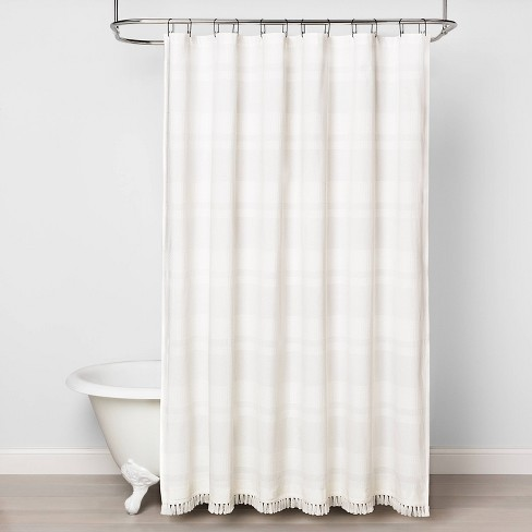 Textured Stripe Shower Curtain White - Hearth & Hand™ with Magnolia - image 1 of 3