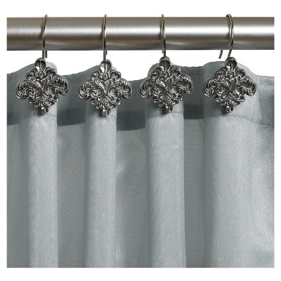 Alexa Resin Brushed Silver Traditional Shower Curtain Hooks Spa Blue/Silver    India Ink