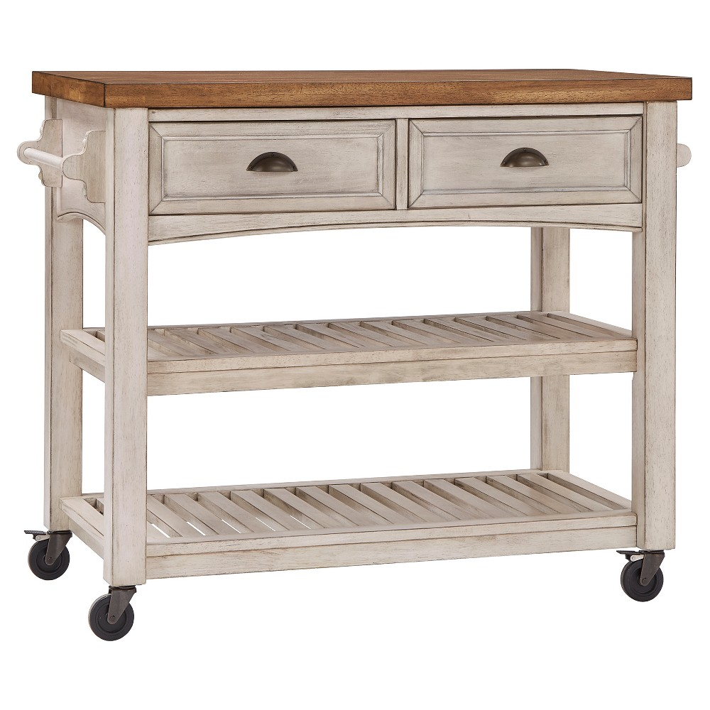 South Hill Wood Top Kitchen Cart - Antique White - Inspire Q