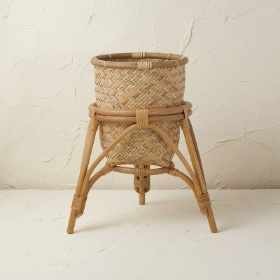 """13.5"""" x 15.5"""" Rattan Woven Planter Basket Natural - Opalhouse™ designed with Jungalow™"""
