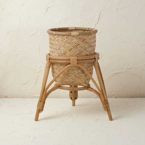 """13.5"""" x 15.5"""" Rattan Woven Planter Basket Natural - Opalhouse™ designed with Jungalow™ - image 1 of 4"""