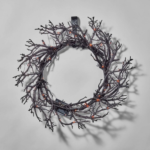 "18"" LED Black Light Up Twig Halloween Wreath - Hyde & EEK! Boutique™ - image 1 of 2"