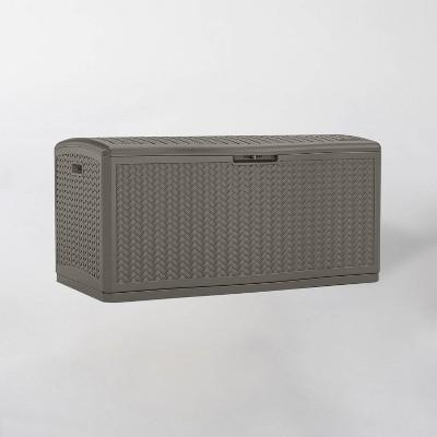 124gal Resin Wicker Deck Box Stoney Gray - Suncast
