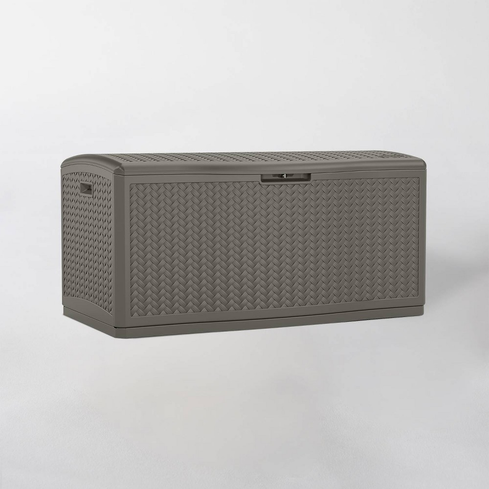 Image of 124gal Resin Wicker Deck Box Stoney Gray - Suncast