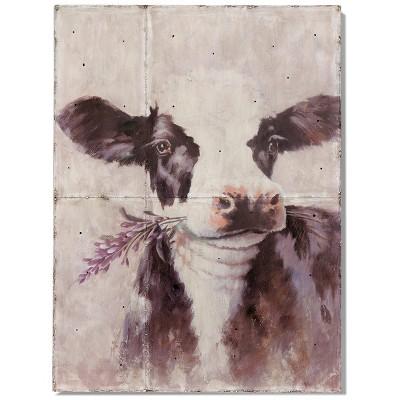 Metal Betty Sue Who Rustic Design Cow Printed Wall Art - StyleCraft
