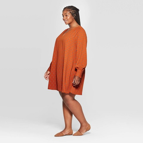 Women's Plus Size Long Sleeve V-Neck Printed Dress - A New Day™ Rust  - image 1 of 3