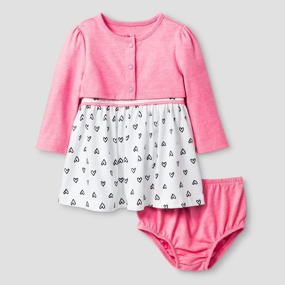 Baby Girls' 2 Piece Heart Print Dress - Cat & Jack Pink/White 6-9M, Dazzle Pink Opaque