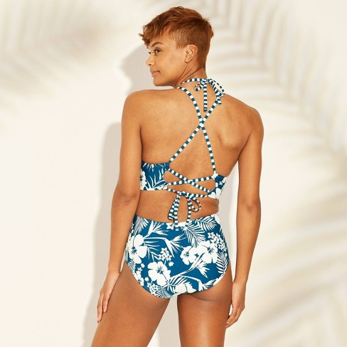 9930b166392 Women's Strappy Back Cut Out Monokini One Piece Swimsuit - Sunn Lab Swim  Blue Floral : Target
