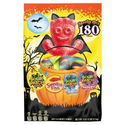 Sour Patch Kids & Swedish Fish Variety Halloween Treat Size Stand-Up Bag - 180ct/3.75lbs