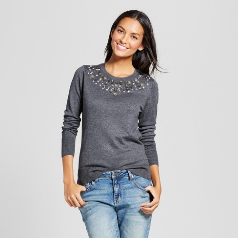 Women's Embellished Multi Gem Pullover - A New Day™ Gray XL - image 1 of 3