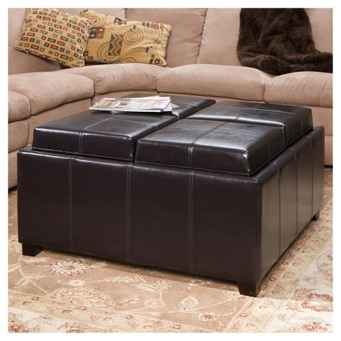 Dayton 4 Tray Top Bonded Leather Storage Ottoman Espresso Brown Christopher Knight Home Target