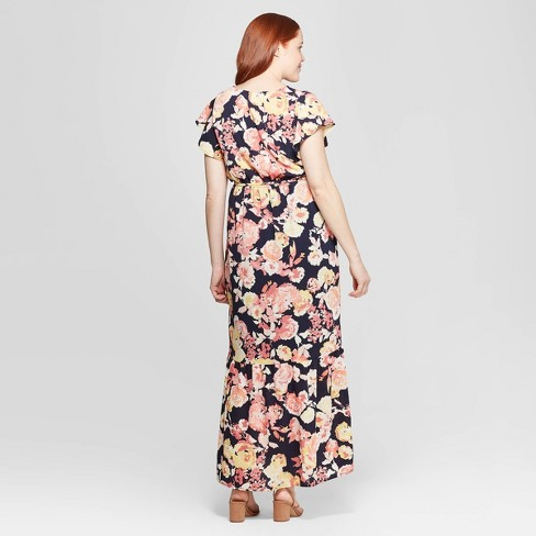 5f517da4c586 Maternity Floral Print Flutter Short Sleeve Maxi Dress - Isabel Maternity  By Ingrid & Isabel™ Navy S : Target