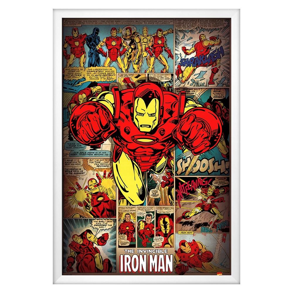 Art.com Marvel Comics-Iron Man-Retro Framed Poster, Multi Colored